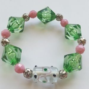 💗Pink & Green 💚 Polka- dot🖤 Statement Bracelet
